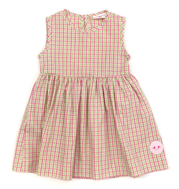 Smiling Button Spring Check Pinny Dress