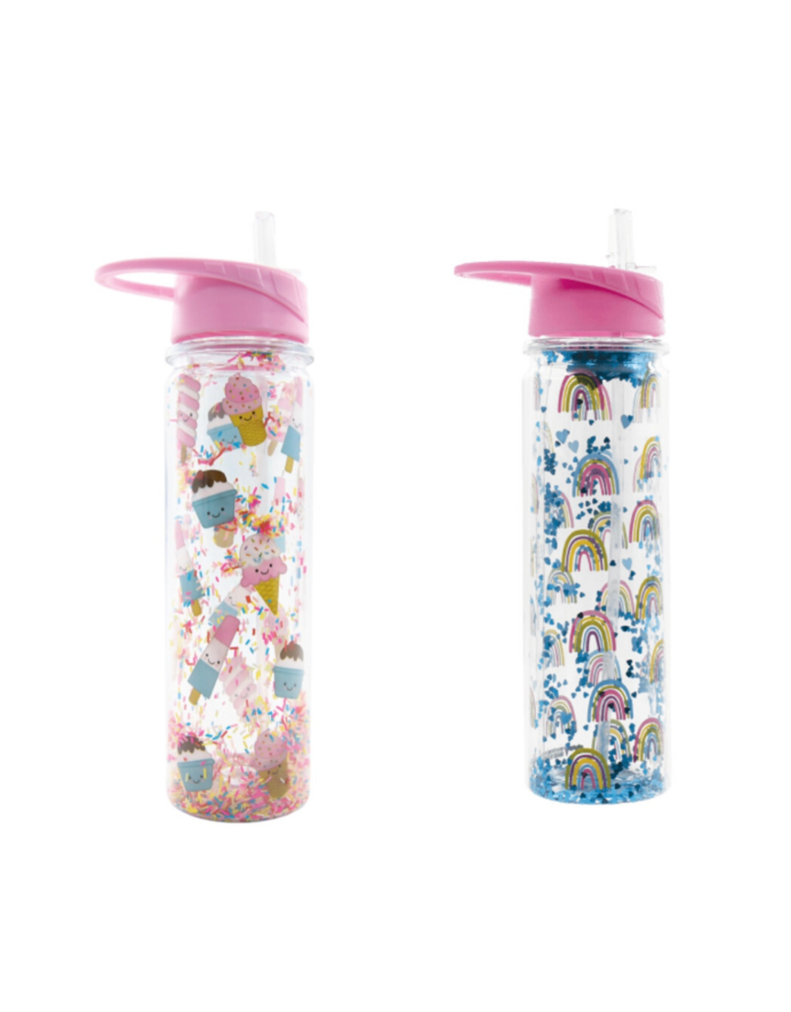Iscream Confetti Filled Water Bottle with Flip up Straw
