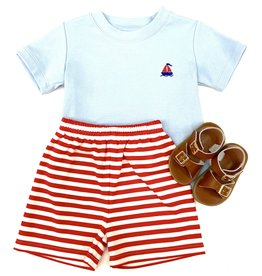 Zuccini Boys Knit Blue T-Shirt With Red Stripe Shorts