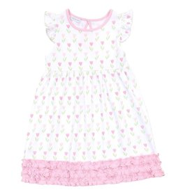 Magnolia Baby Tulips Printed Ruffle Dress Set Pink