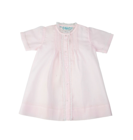 Pink Newborn Folded Daygown With Lace