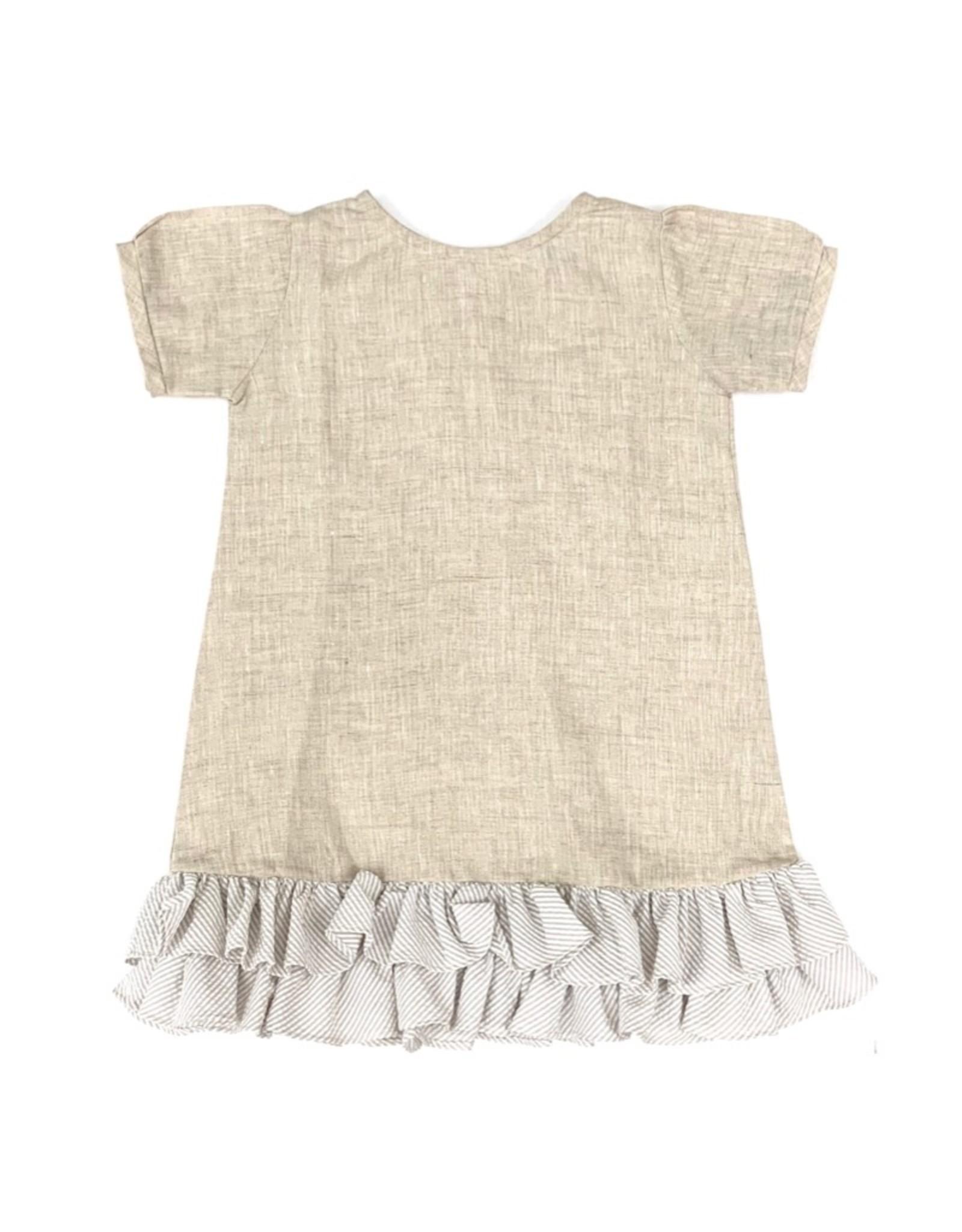 Baliene Giselle Girls Dress Oatmeal With Stripes