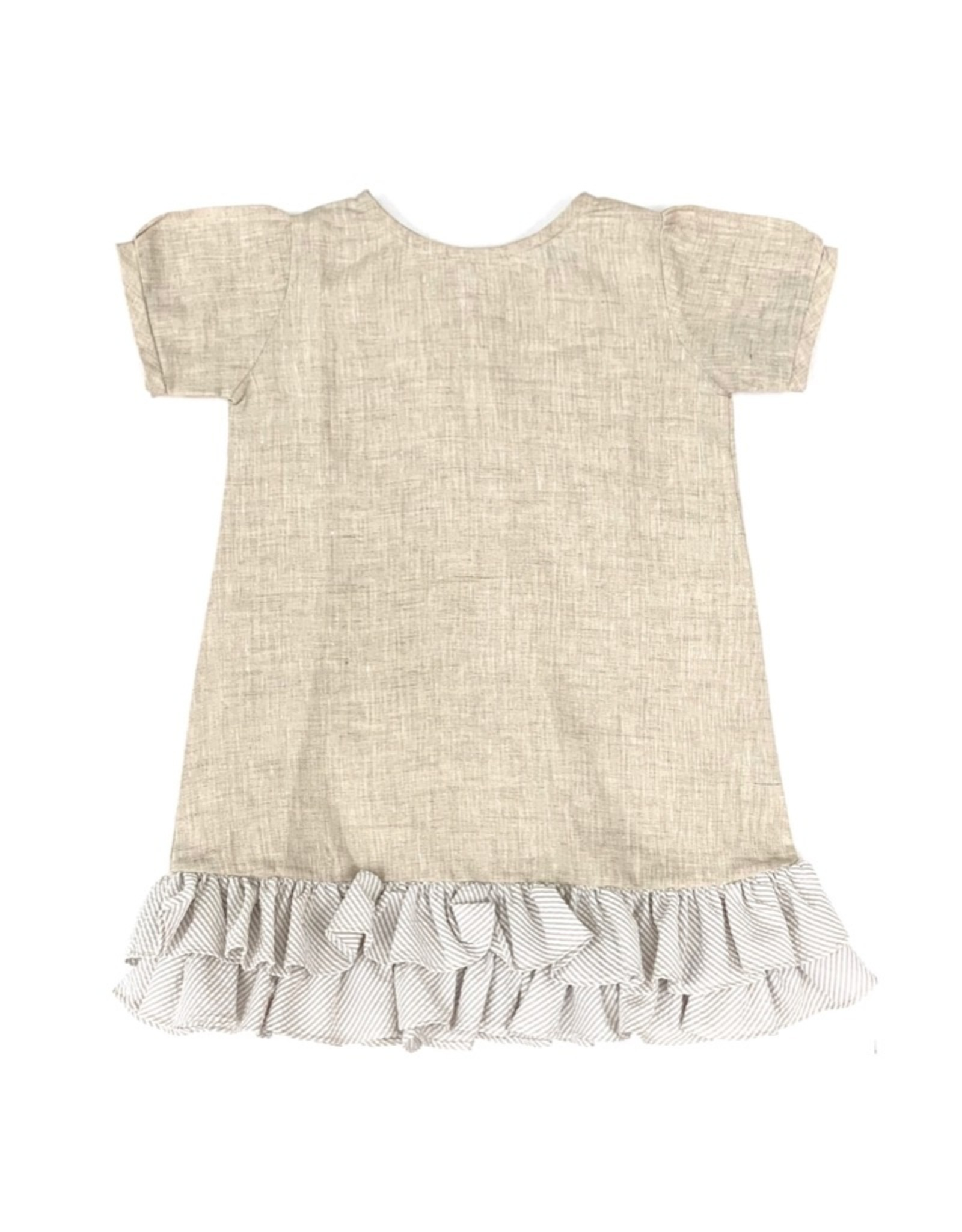 Giselle Girls Dress Oatmeal With Stripes