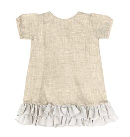 Baliene Giselle Girls Dress Oatmeal With Stripes