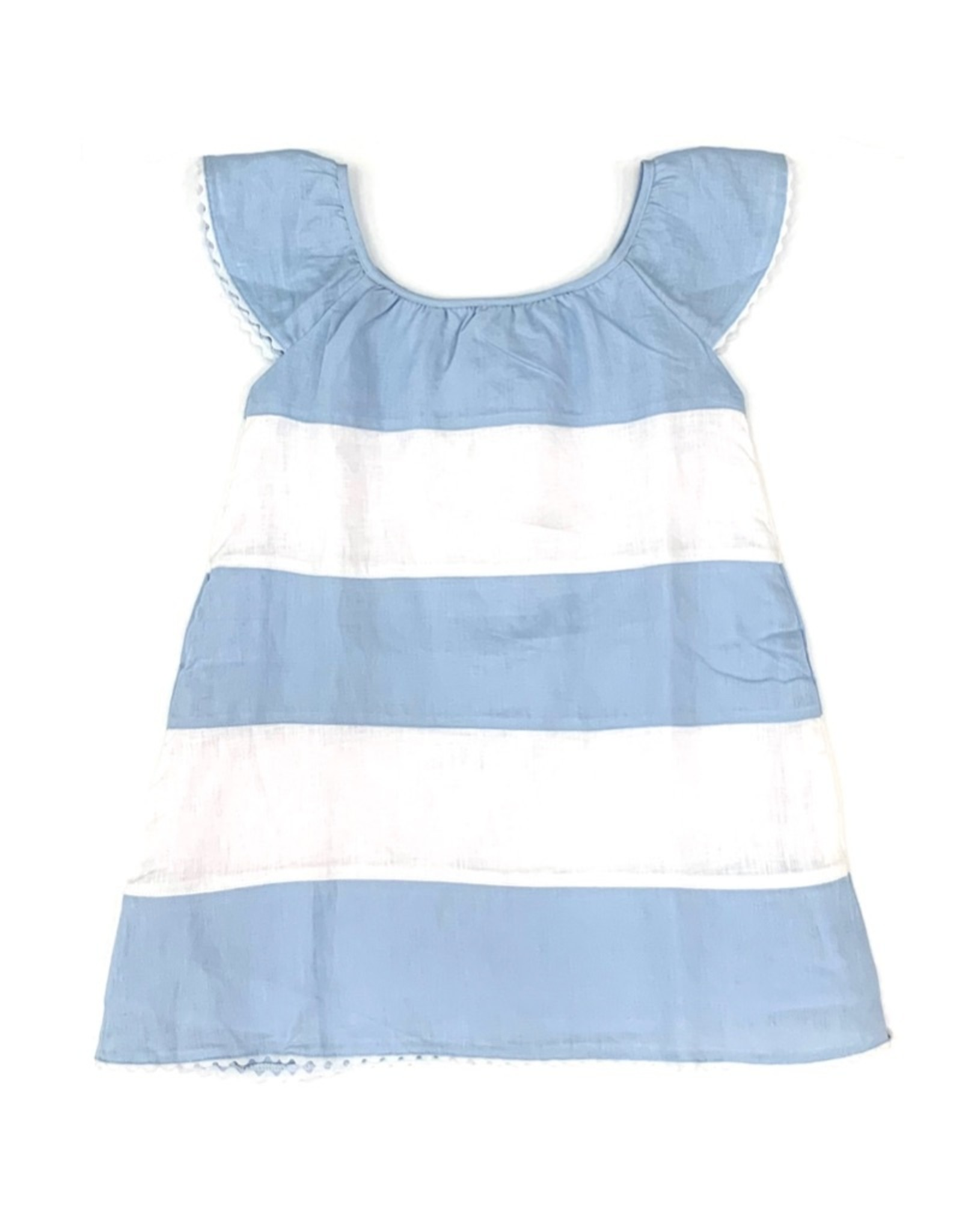 Madeline Girls Dress Baby blue And White