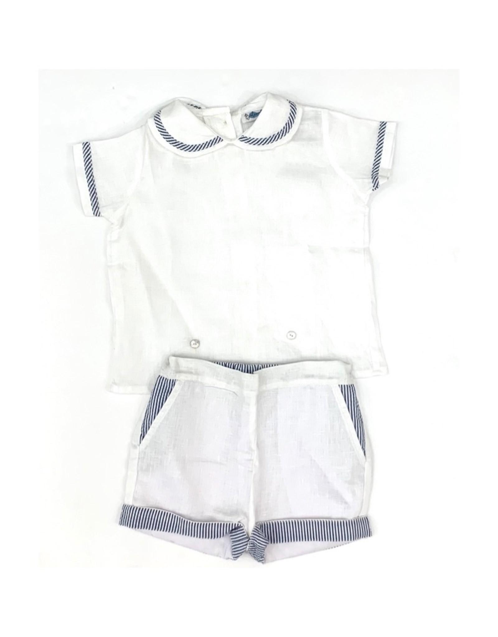 Pascale Boy Set White With Navy Stripes