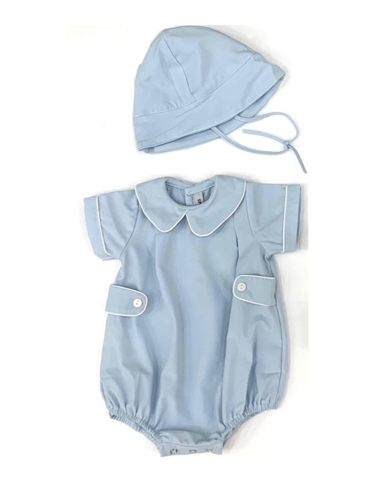 Sweet Dreams Blue Hemstitch Infant Set