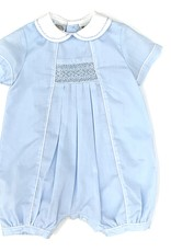 Blue Smocked Bubble With Collar