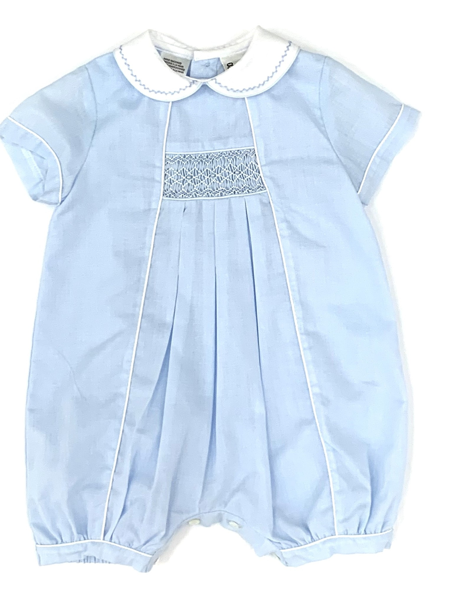Sarah Louise Blue Smocked Bubble With Collar