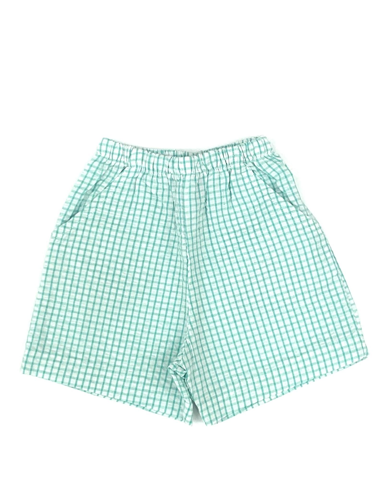 The Bailey Boys Palm Green Windowpane Elastic Waist Short