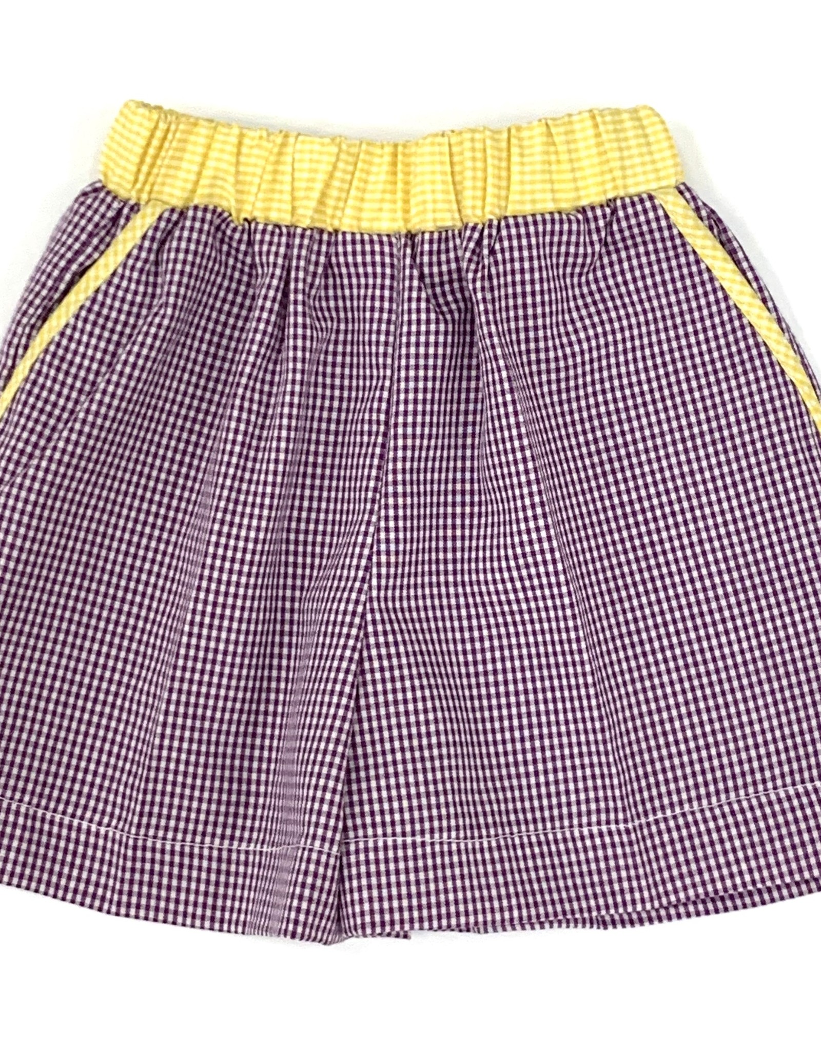 Lulu Bebe LLC Purple Gingham Shorts With Yellow Trim