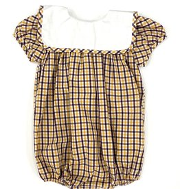 Lulu Bebe LLC LSU Plaid Girl Square Bib Bubble