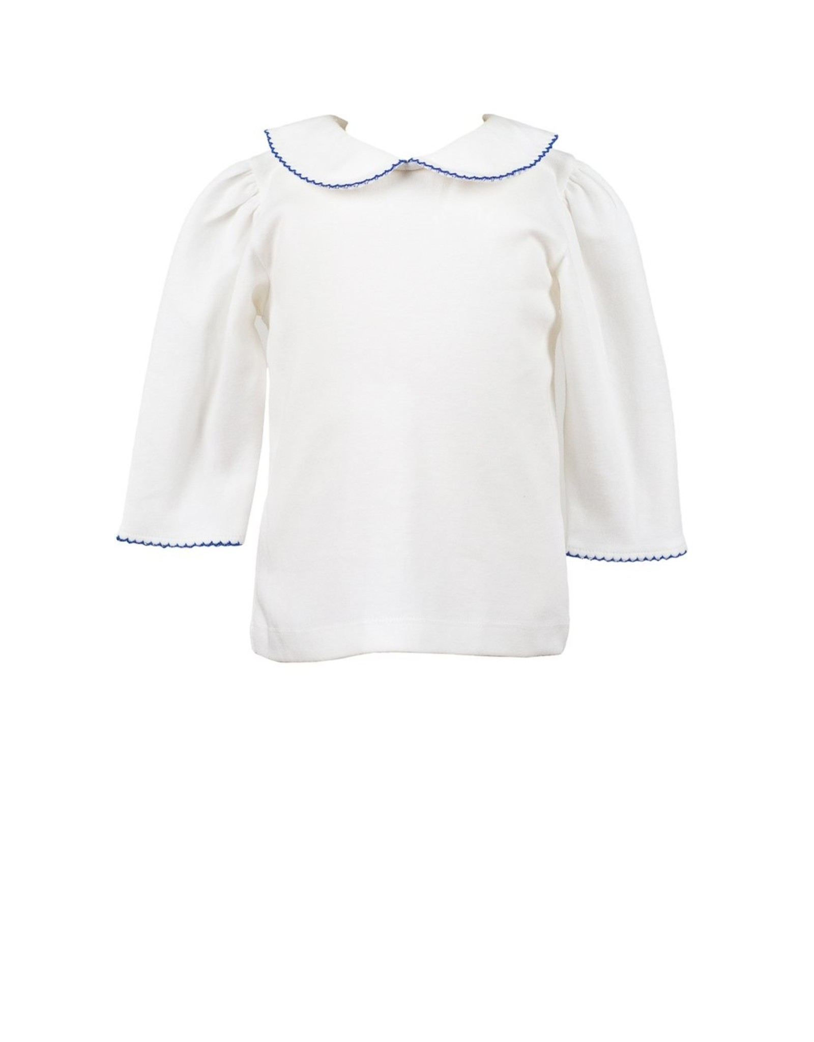 The Proper Peony White With Royal Blue Trim 3/4 Sleeve Shirt