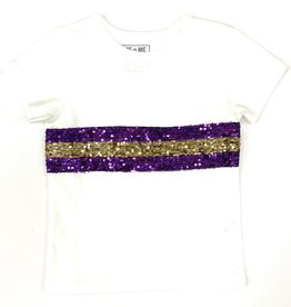 Lulu Bebe LLC LSU Short Sleeve Sequin Crew Neck Tee