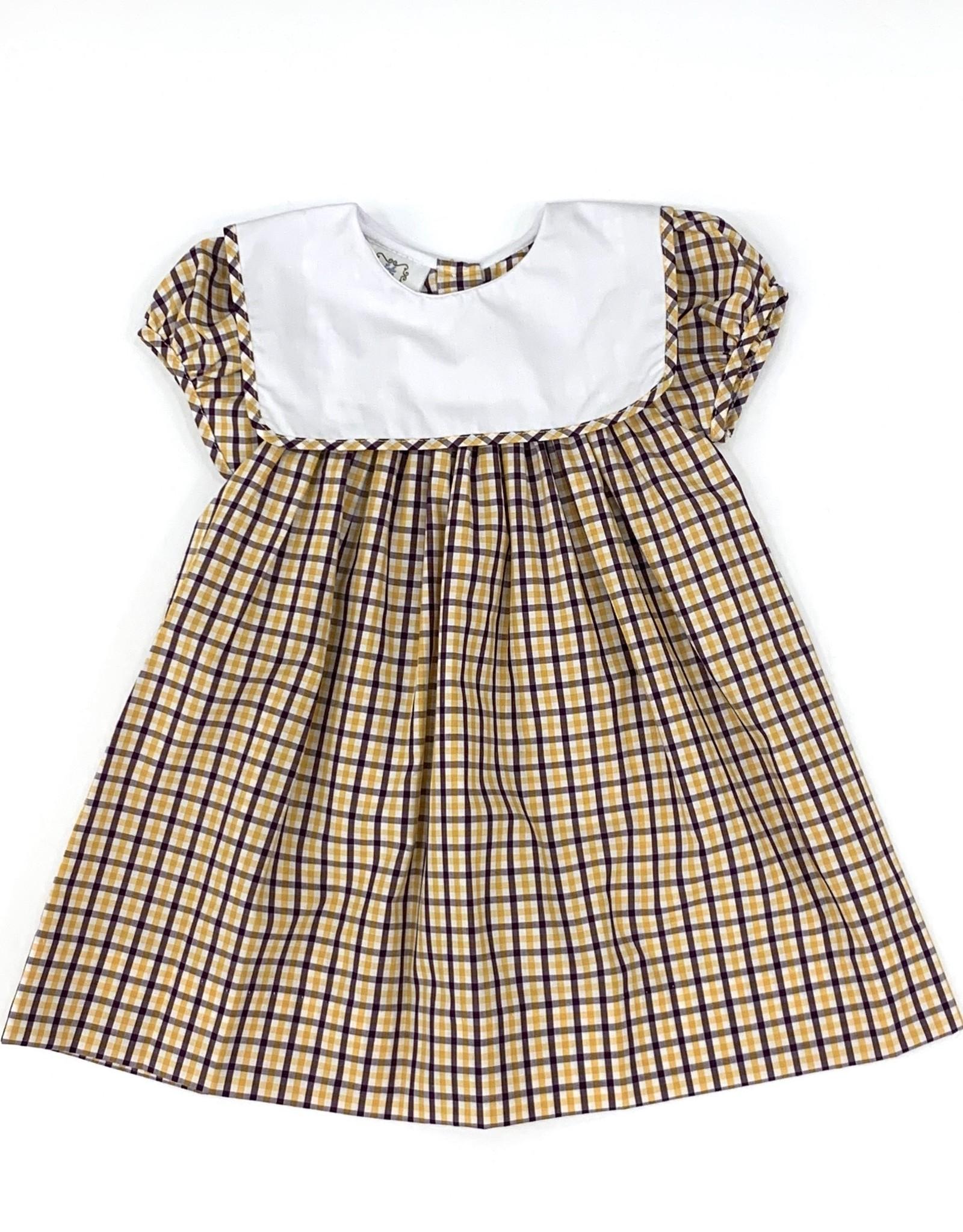 Lulu Bebe LLC LSU Plaid Square Bib Collar Dress