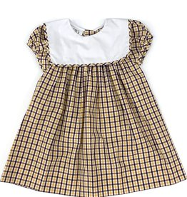 Lulu Bebe LLC LSU Plaid Square Bib Collar Dress