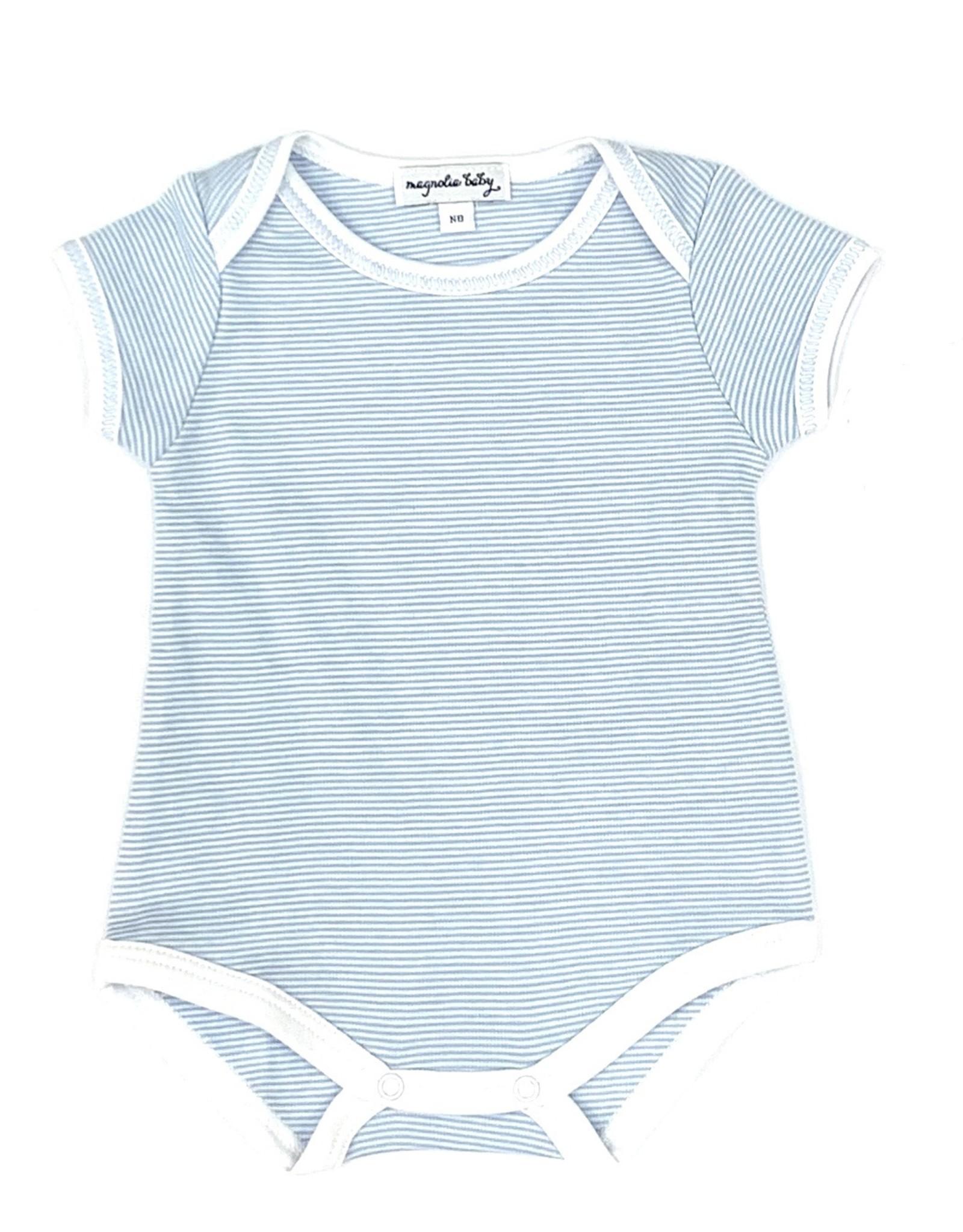 Mini Stripe Essentias Short Sleeve Bodysuit Light Blue