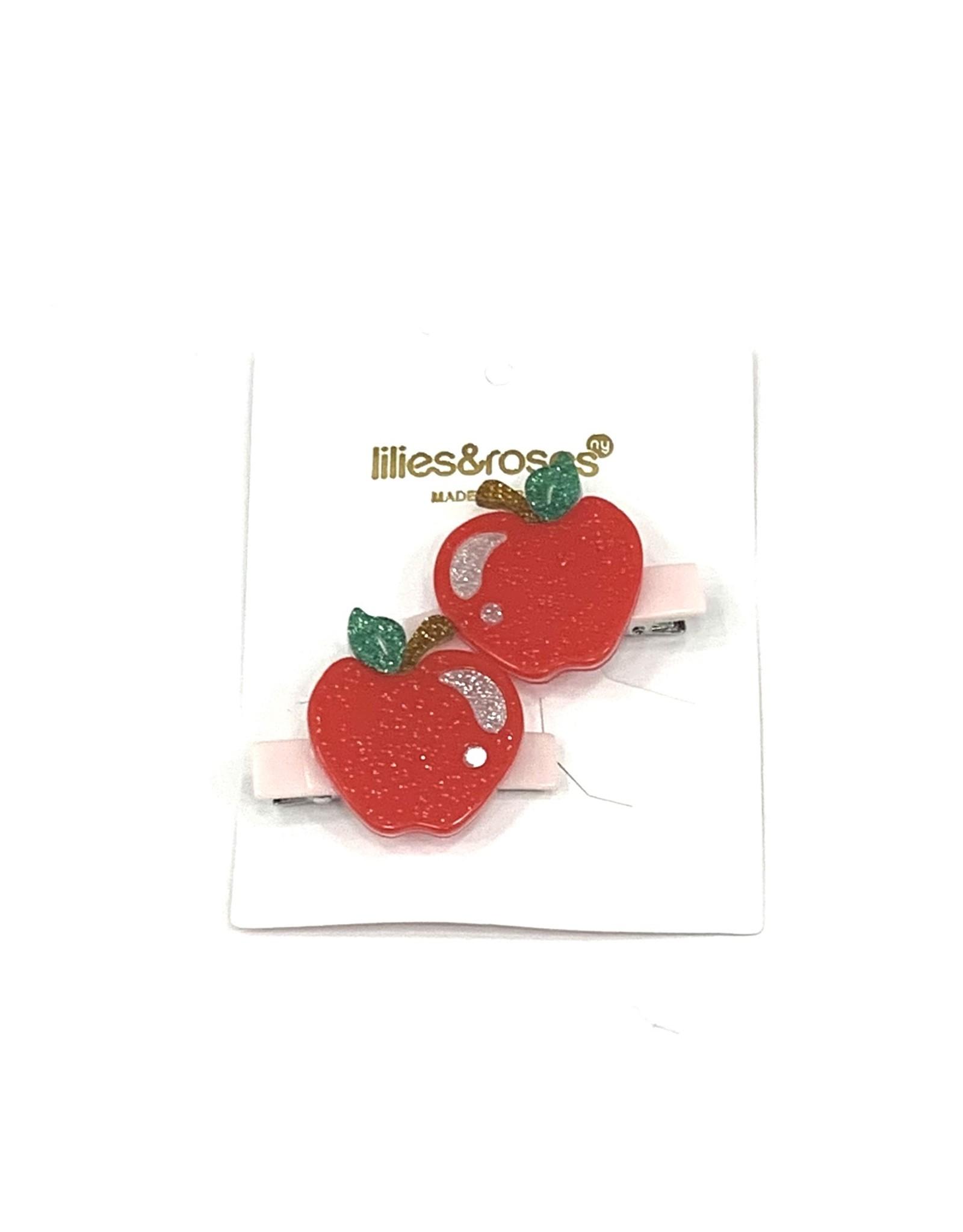 Lillies&Roses Glitter Apple Alligator Clip