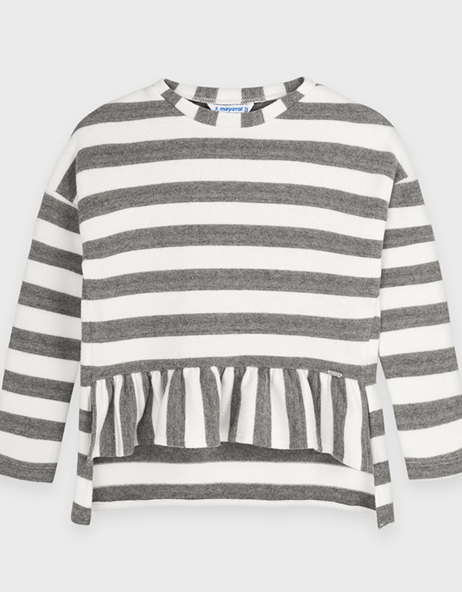 Mayoral Grey And White Stripped Flare Sweater