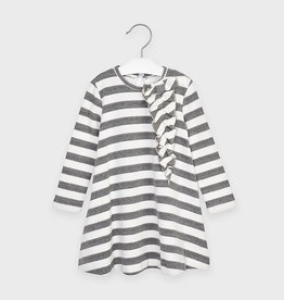 Mayoral Grey And White Stripped Sweater Dress