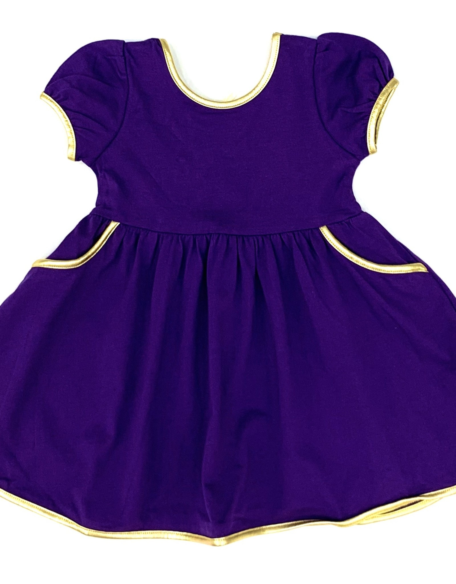 Velvet Fawn Purple And Gold Swoop Dress