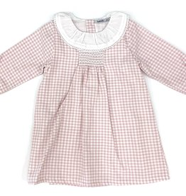 Babidu Pink Check Dress With White Collar