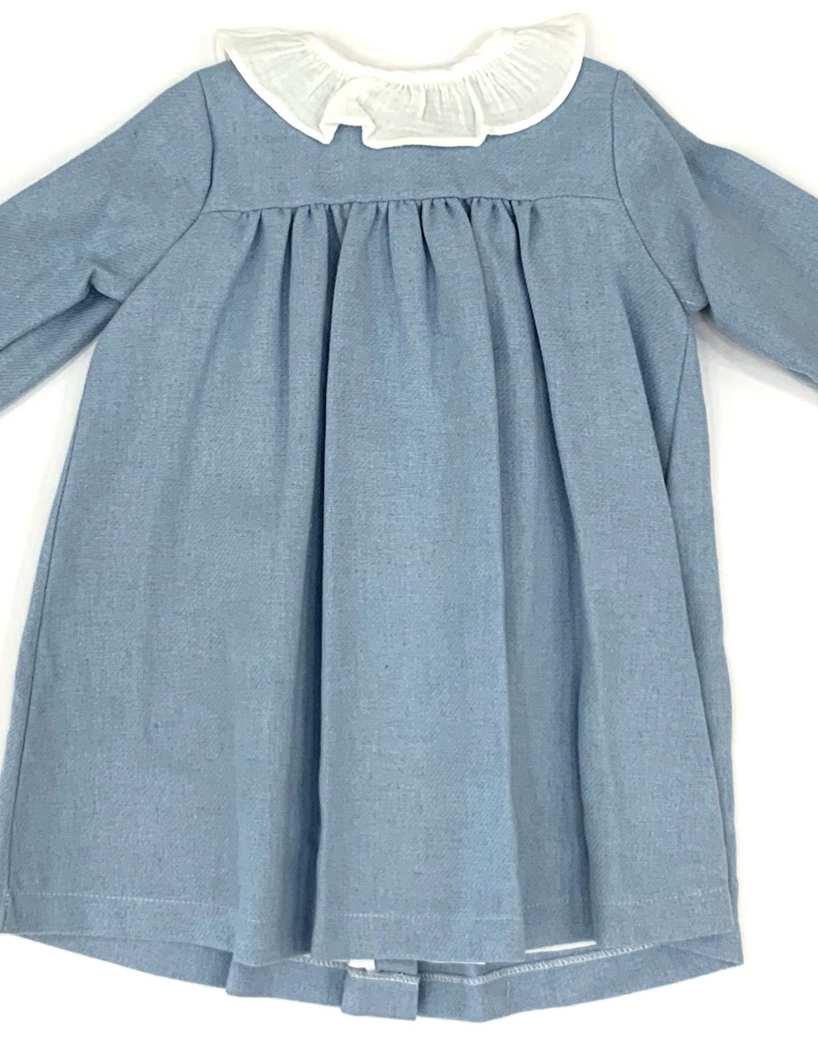 Babidu Sky Blue Dress With White Collar