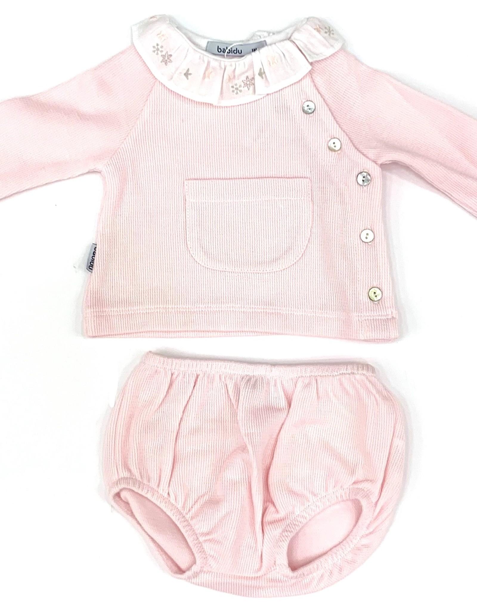 Babidu Pink Two Piece Short Set With White Collar