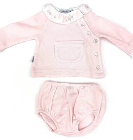 Babidu Pink Two Piece Short Set With White Collar