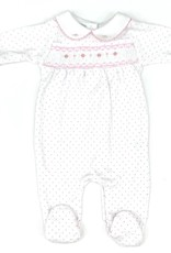 Magnolia Baby Pink Polka Dot Footie With Flowers