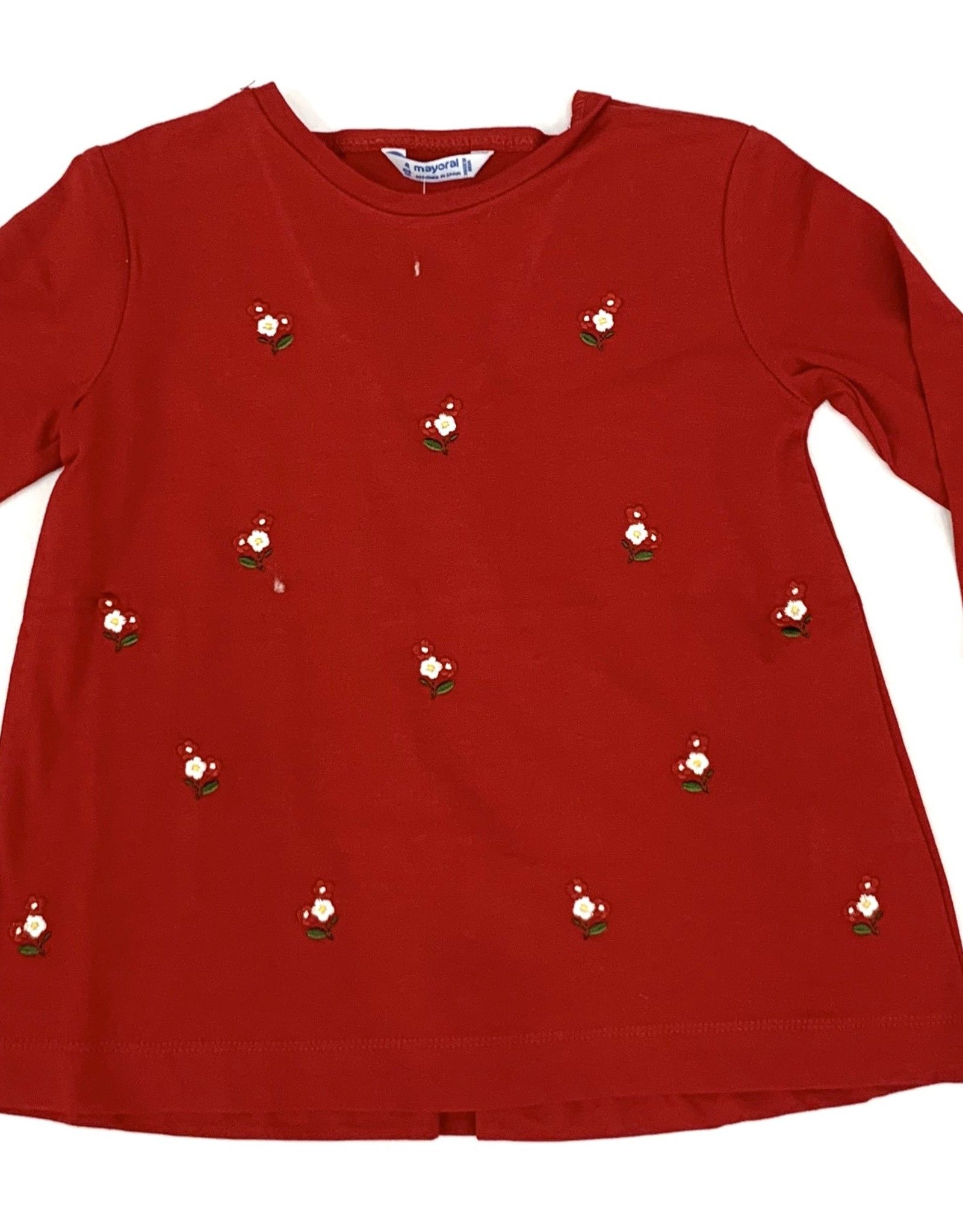 Mayoral Red Long Sleeve Shirt With Flowers