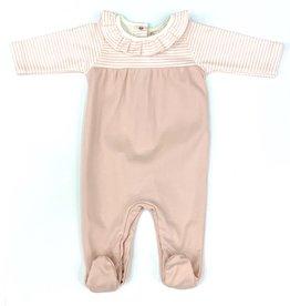 Babidu Pink Stripes Long Sleeve Snap Back Footie