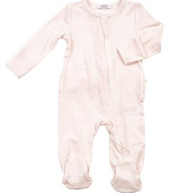 Angel Dear Basic Pink Striped Zipper Footie