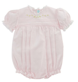 Feltman Brothers Pink Floral Bullions And Lace Romper
