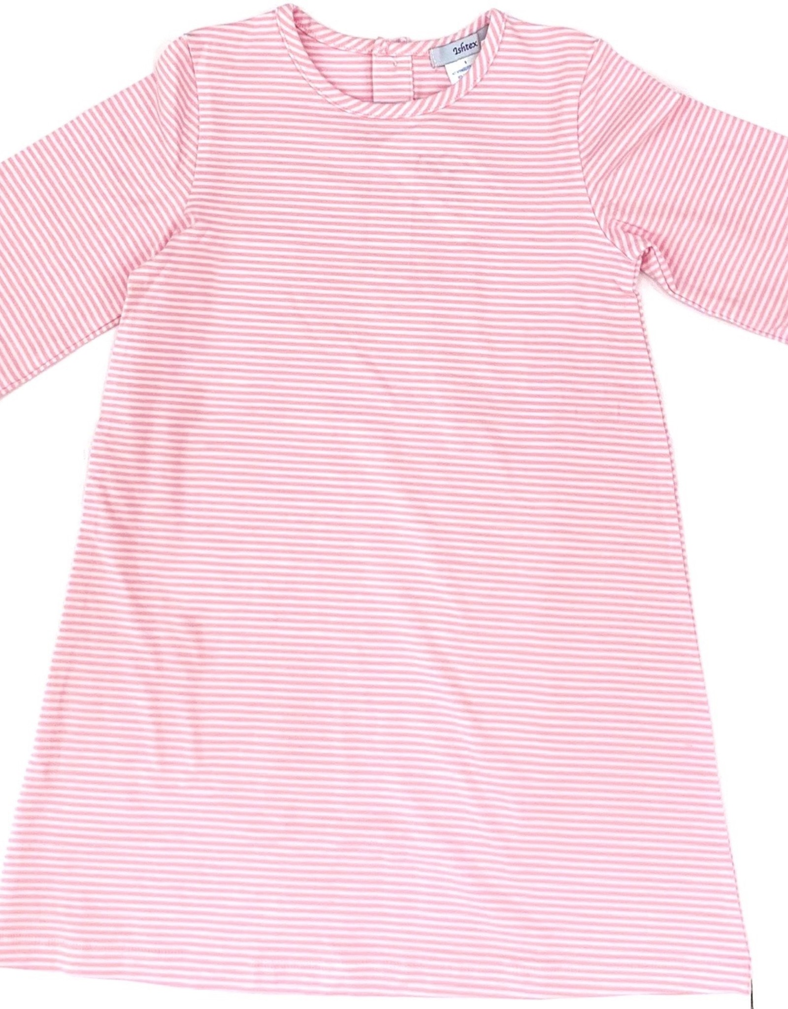 Ishtex Pink And White Stripe A-Line Dress