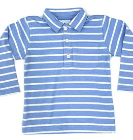 Little English Sky Blue And White Long Sleeve Striped Polo