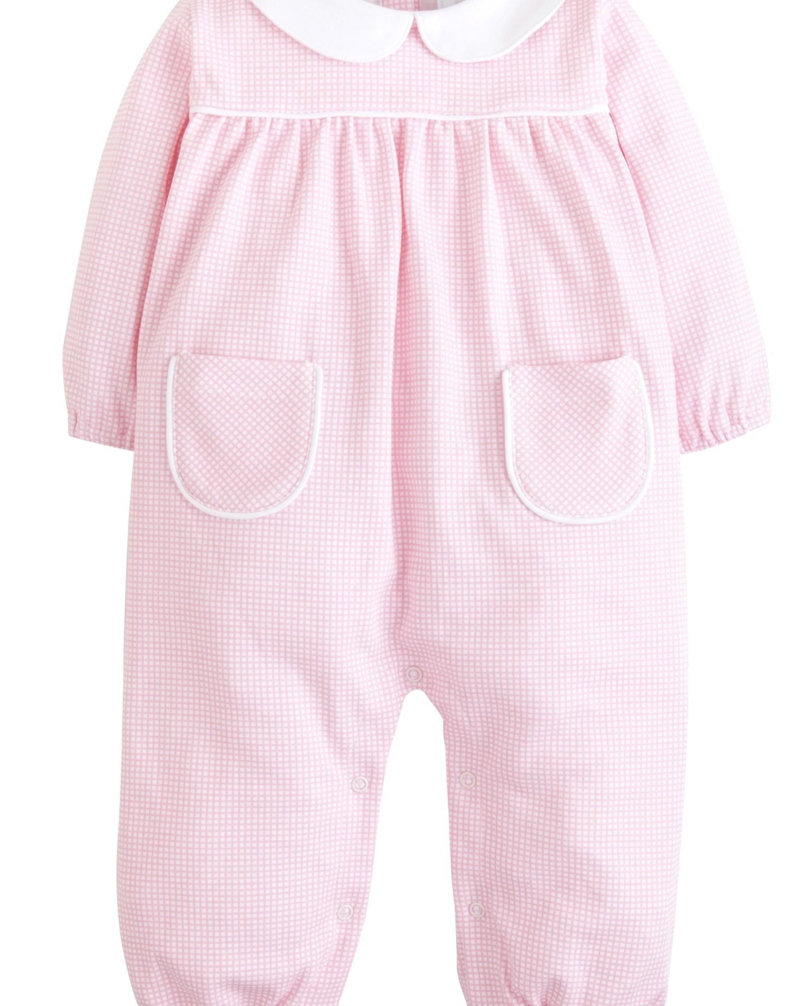Little English Pink Gingham Windowpane Romper