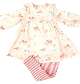 Angel Dear Girl Ponies Ruffle Dress And Legging Set