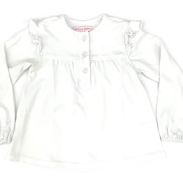 Peggy Green Long Sleeve White Pima Shirt With Ruffle