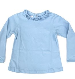 Peggy Green Long Sleeve Fitted Baby Blue Ruffle Shirt