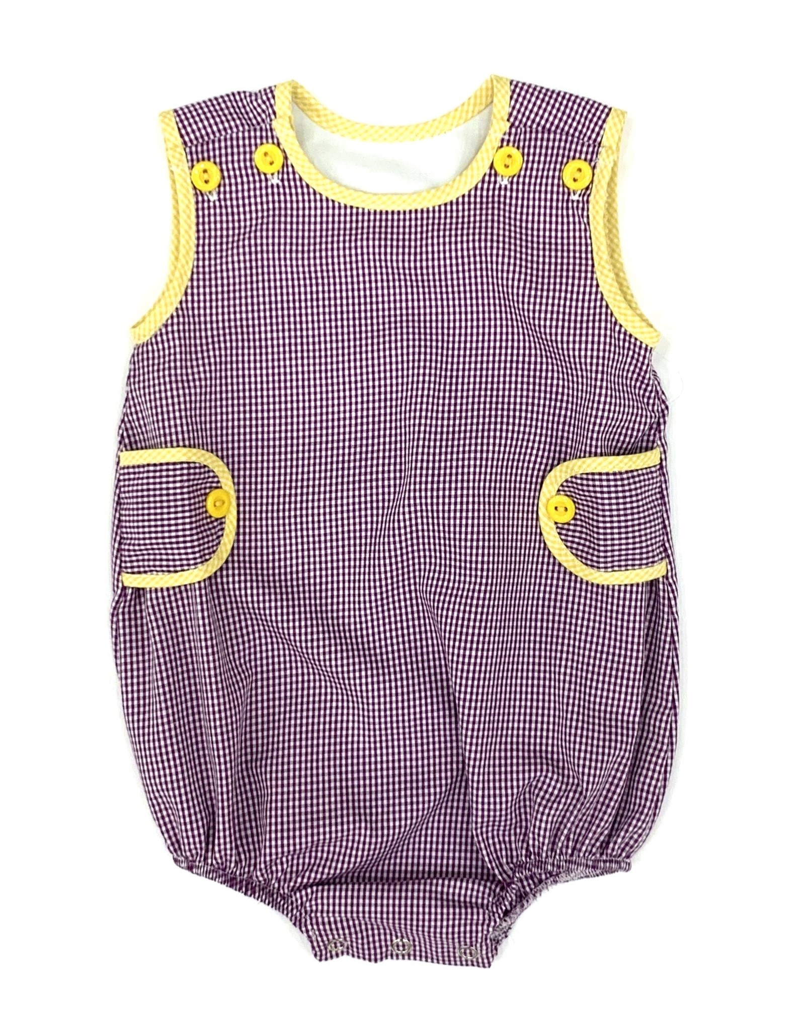 Lulu Bebe LLC LSU Purple Gingham Boy Bubble