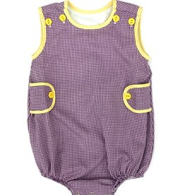 Lulu Bebe LLC LSU Purple Gingham Boy Bubble