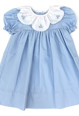 Auraluz Blue Dress With White Collar