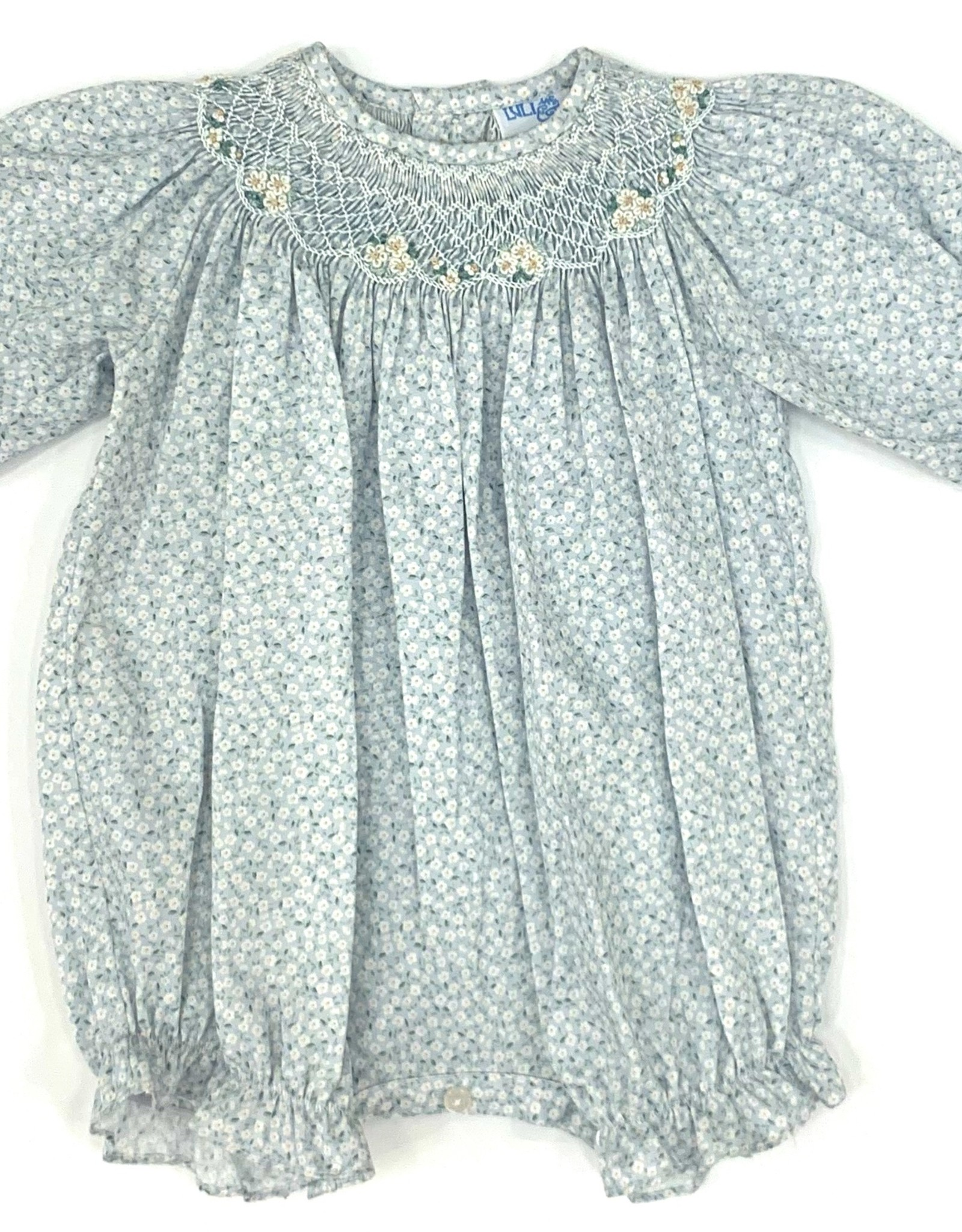 Sophie & Lucas Tiny Floral Smocked Blue Bubble