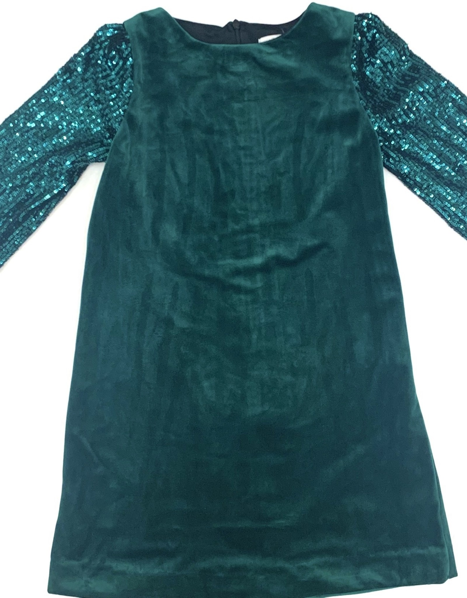Sophie & Lucas Green Velvet Dress Wtih Sequins Sleeves