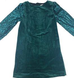 Sophie & Lucas Green Velvet Dress With Sequins Sleeves