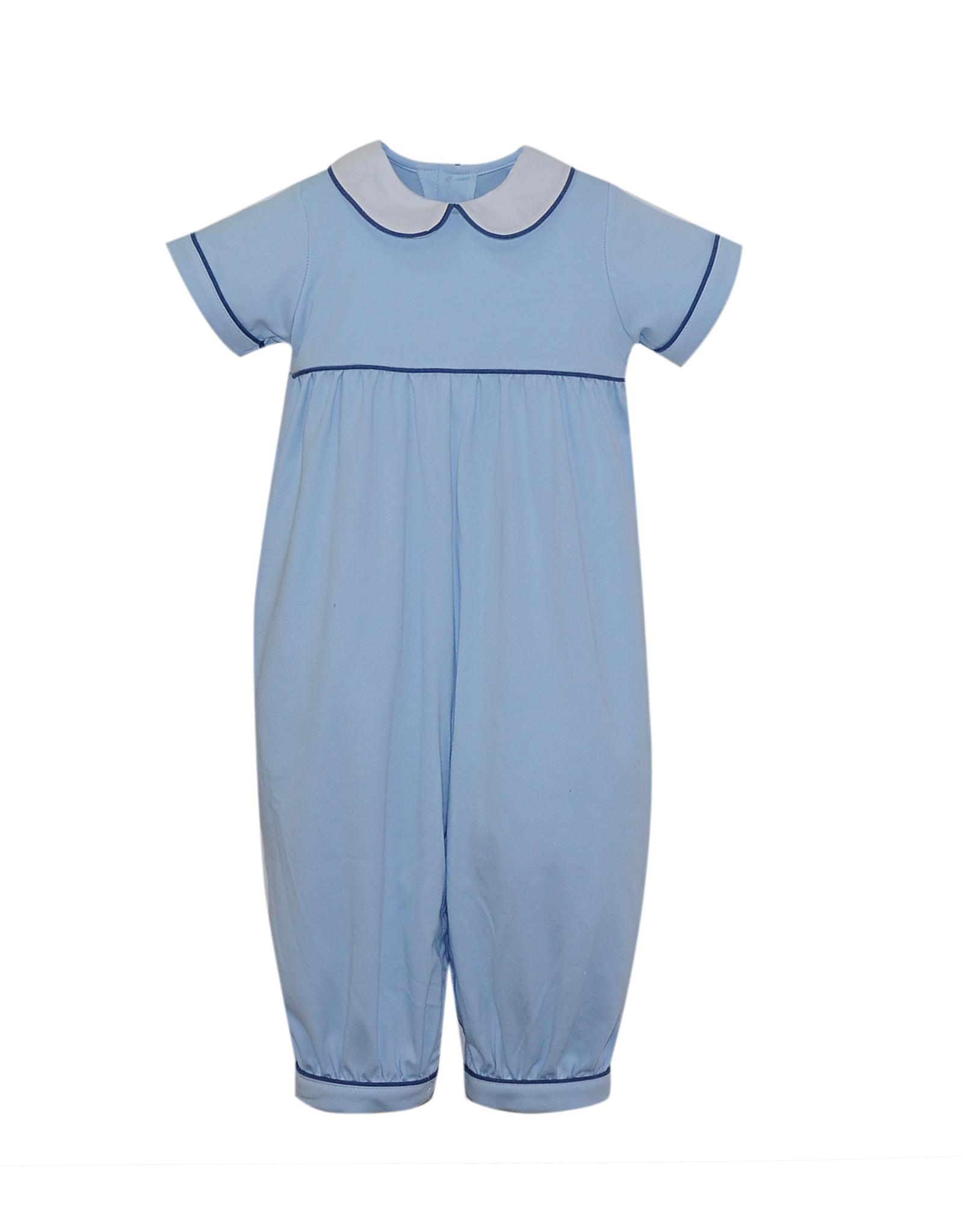 LullabySet Light Blue Knit Rover Romper