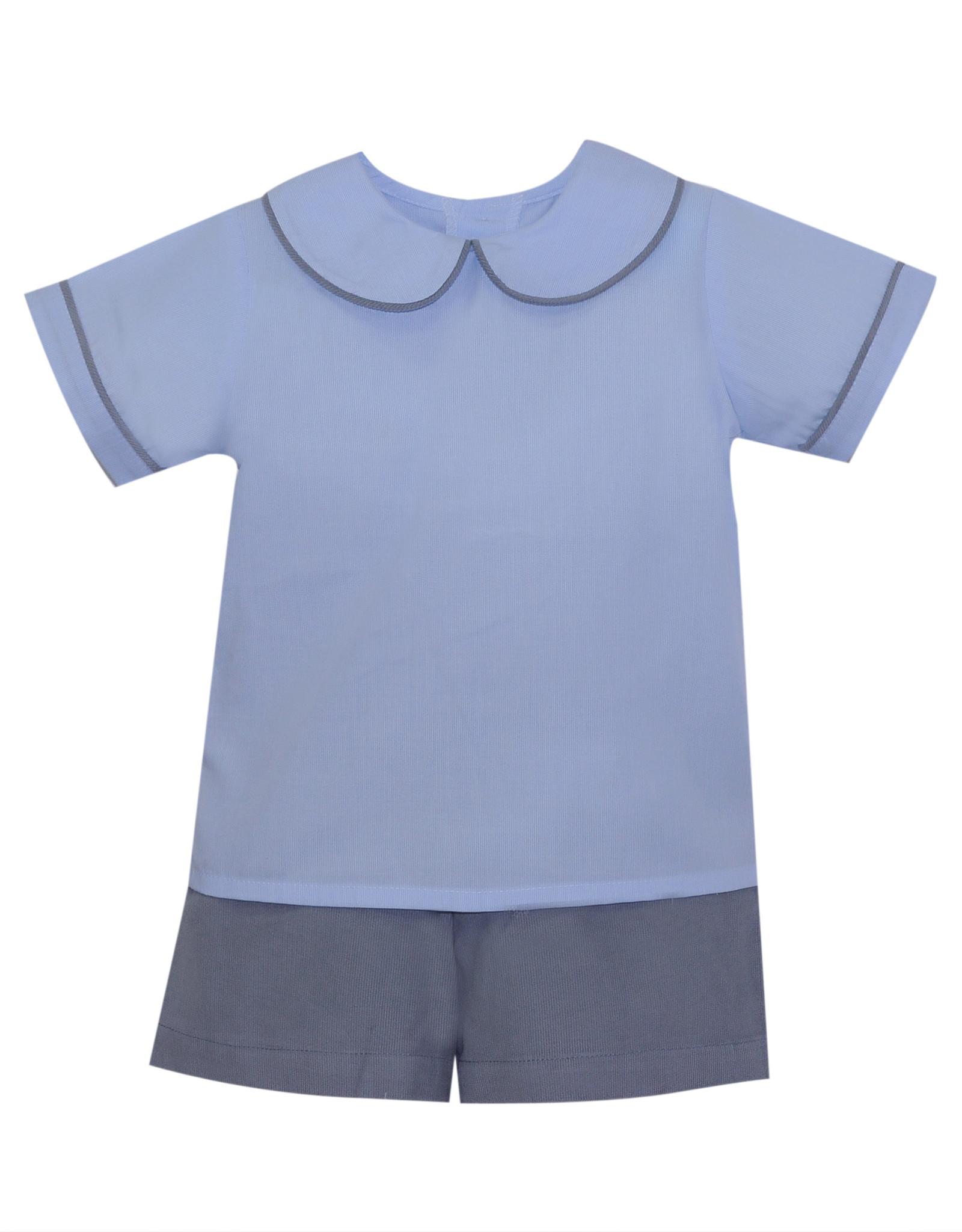 LullabySet Blue And Grey Sibley Short Set