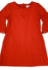 Gabby Red Ponte Scallop Dress