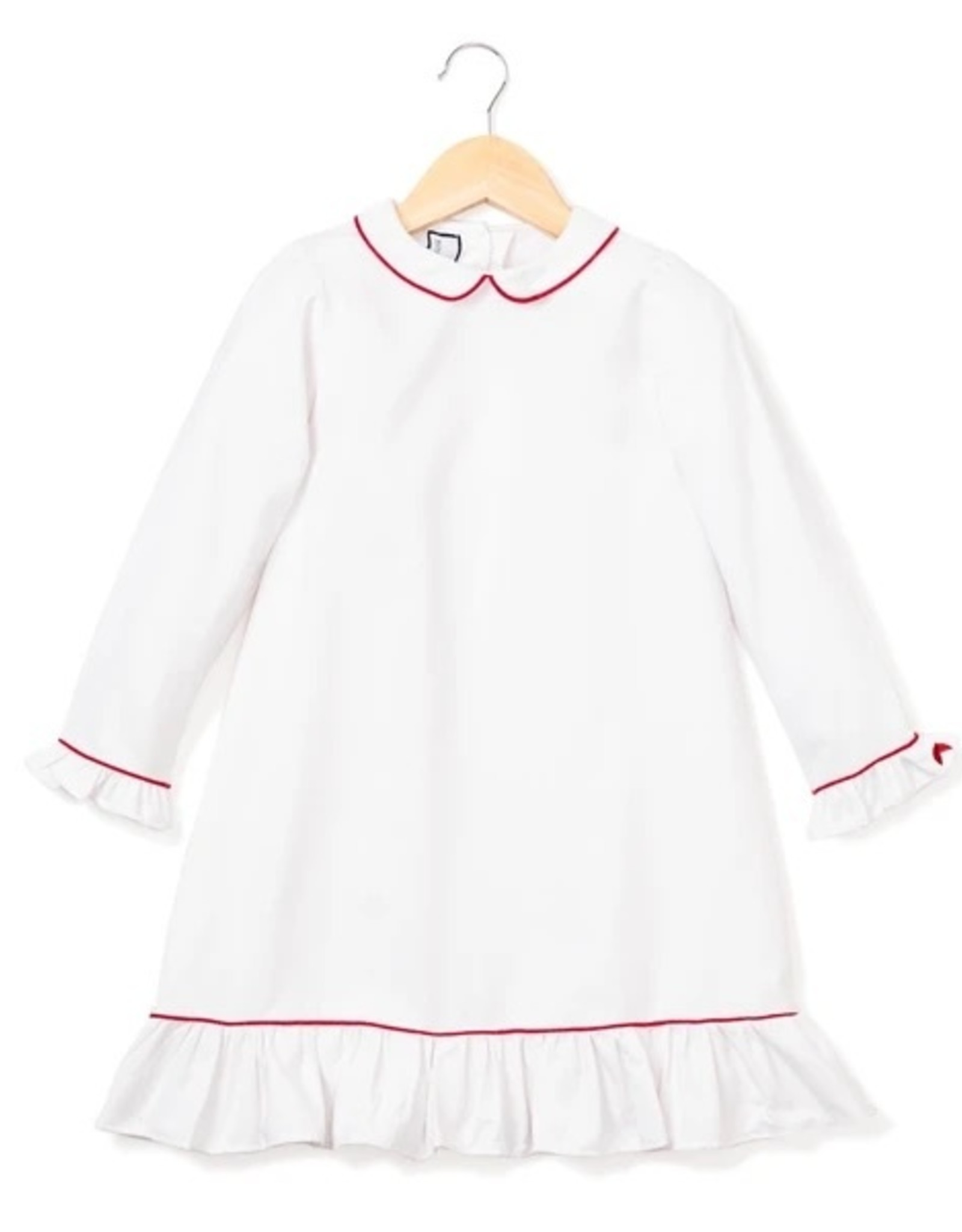 Petite Plume White Sophie Nightgown With Red Piping